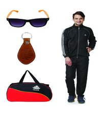 Track suit & Duffle bag Combo( Black & Blue )