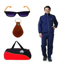 Mens Track suit & Duffle bag Combo (Nevy& White)