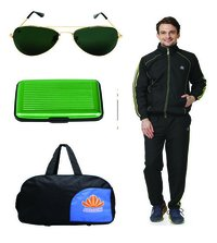 Mens Track suit & Duffle bag Combo (black&parrotgreen)