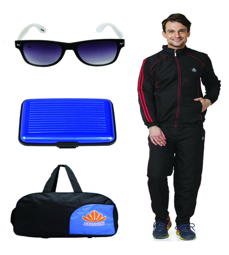 Mens Track suit & Duffle bag Combo(black&red)