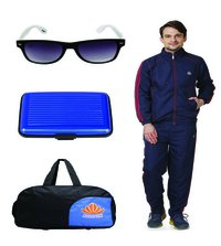 Mens Track suit & Duffle bag Combo(nevy&red)