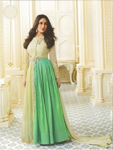 Kareena Kapoor Cream N Green Anarkali Suit