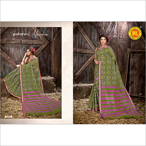 Printed Green Cotton Saree
