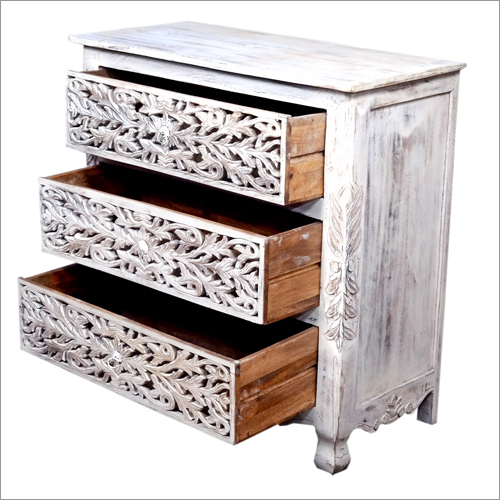 Wooden Drawers Side Table
