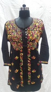 Ladies Cotton Embroidery Black Gala Buti Kurti / Top