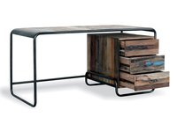 Reclaimed wood iron desk with drawers