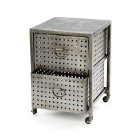Industrial Metal Bedside Table on Wheels