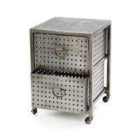 Industrial bedside table on wheels