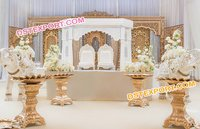 Golden Fiber Carved Wedding Mandaps Set