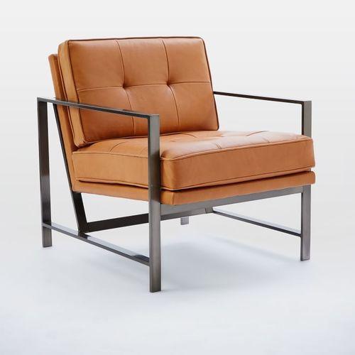 Vintage metal frame leather armchair