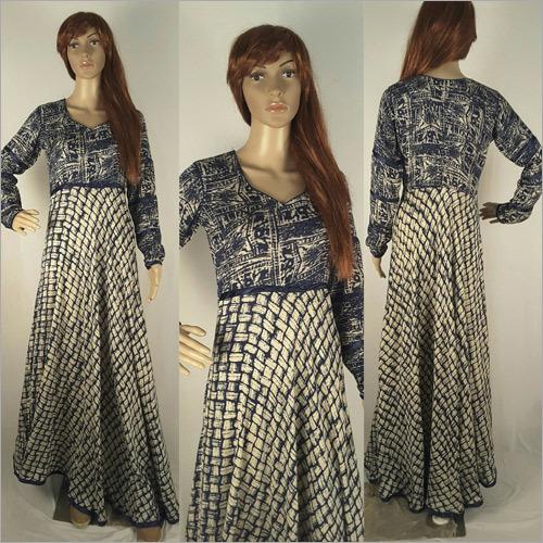 Ladies Blue Printed Gown
