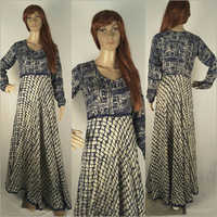 Ladies Blue Printed Gown