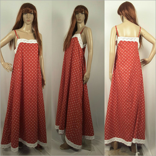 Ladies Cotton Printed Red Gown