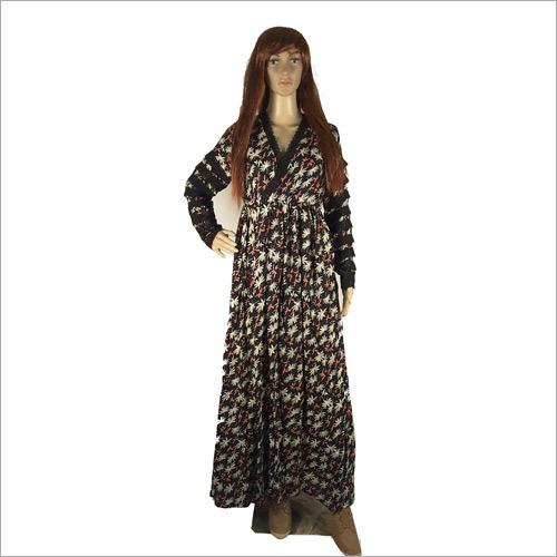 Ladies Leaf Print Long Gown