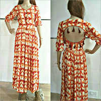 Ladies Printed Rayon Long Gown