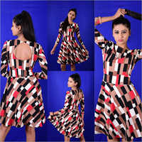 Ladies Box Print Dress