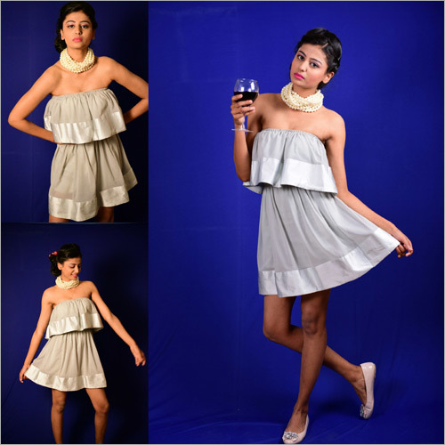 Ladies Georgette Grey Off Shoulder Dress