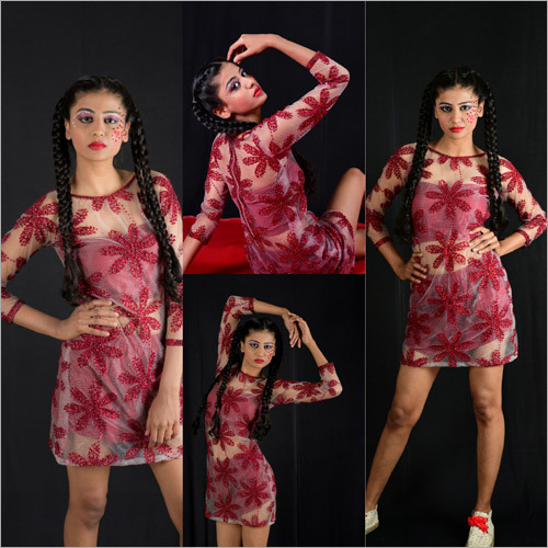 Ladies Red Floral Dress