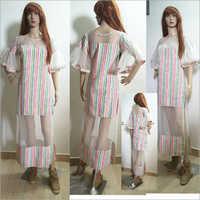 Ladies Side Slit Cut Straight Dress