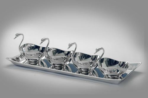 Silver Plated 4 Swan Set