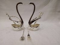 Silver Plated Swan Set Spoon/Fork Stand