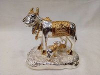 Silver and Gold Plated Cow Statue