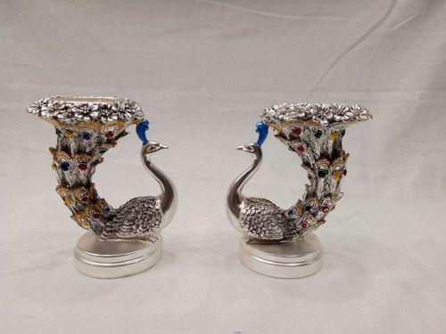 Silver Plated Peacock Tea Light