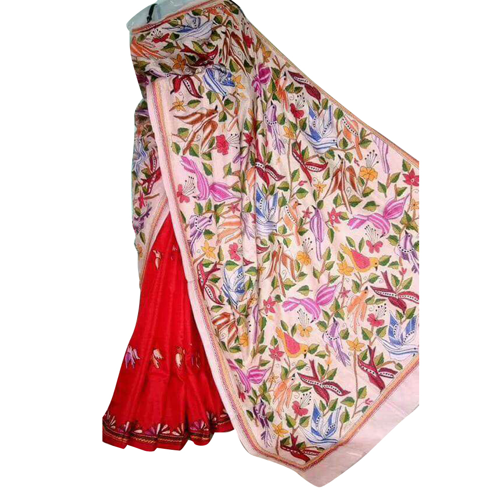 Ladies Printed Kantha Stitched Saree