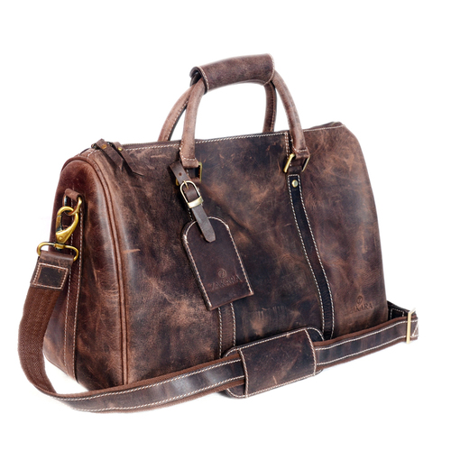 Natural Vintage Leather Duffel Bag