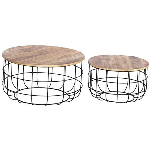 Iron Base Wooden Top Coffee Tables