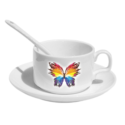 Sublimation Cup & Saucer - With Spoon