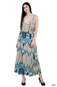 Devarshy Printed Long Cotton Spaghetti Dress