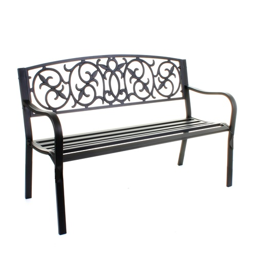 Industrial 3 seater metal garden or patio bench