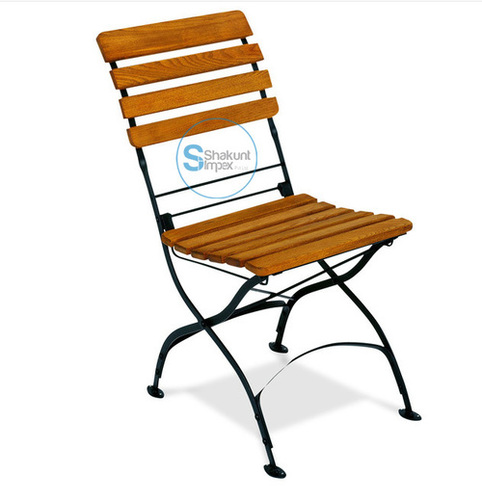 Tan Wood Iron Chair