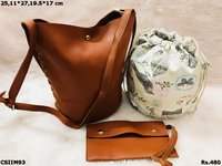 Imported Faux Leather Combo Bag With Sling