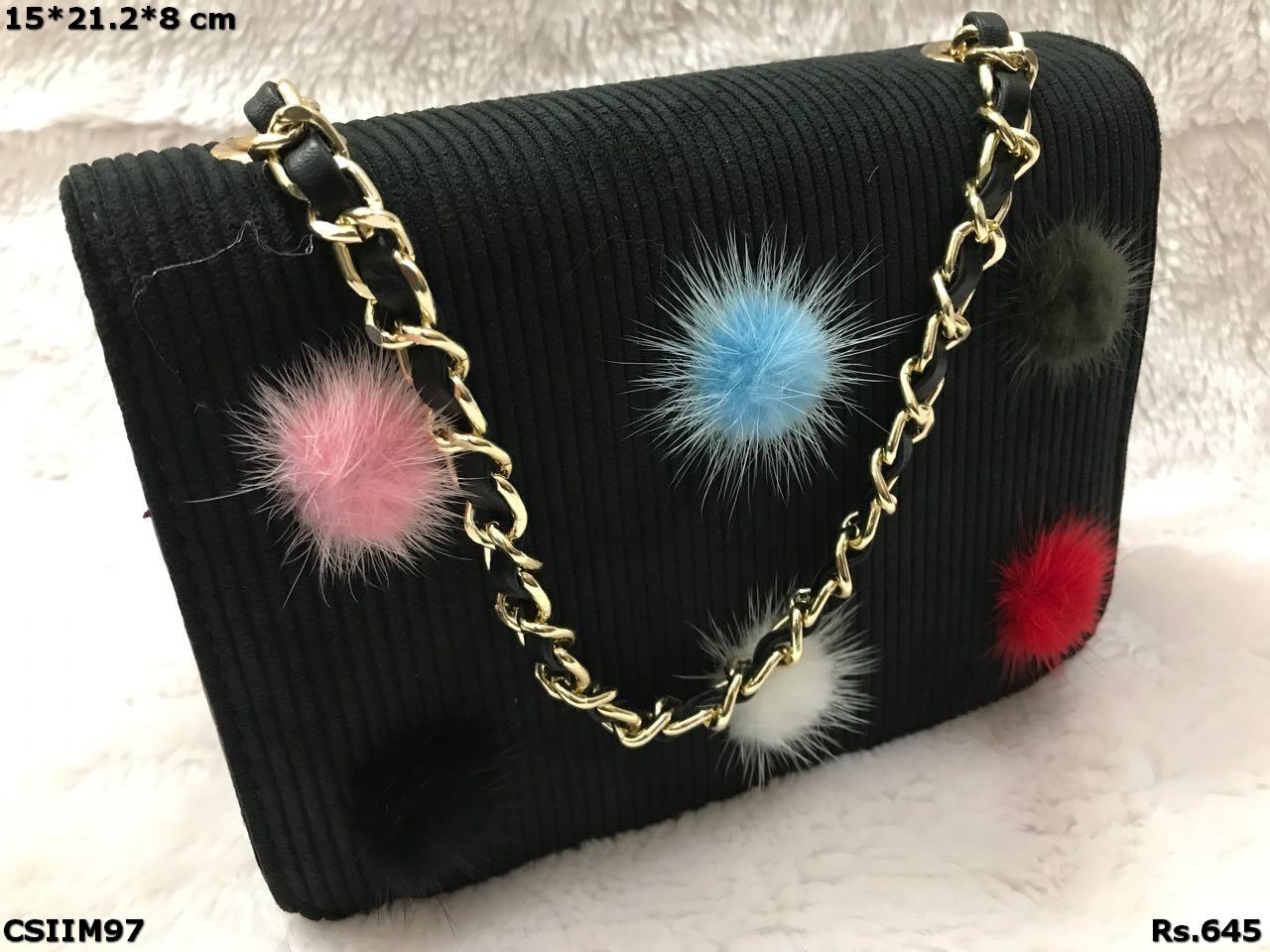 Suede Imported Floral Sling Bag