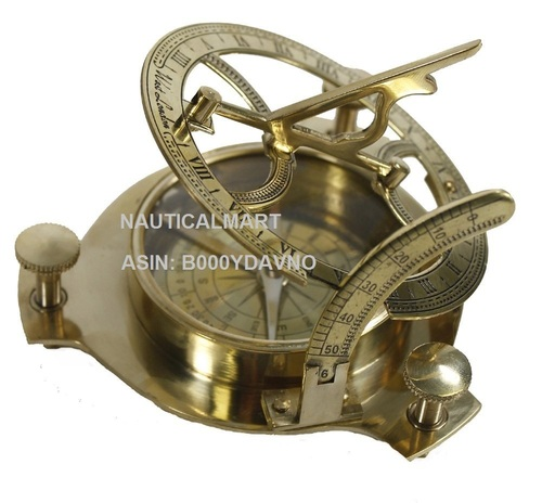 Real Simple A Handtooled Handcrafted Brass Sundial Compass W/Hardwood Box