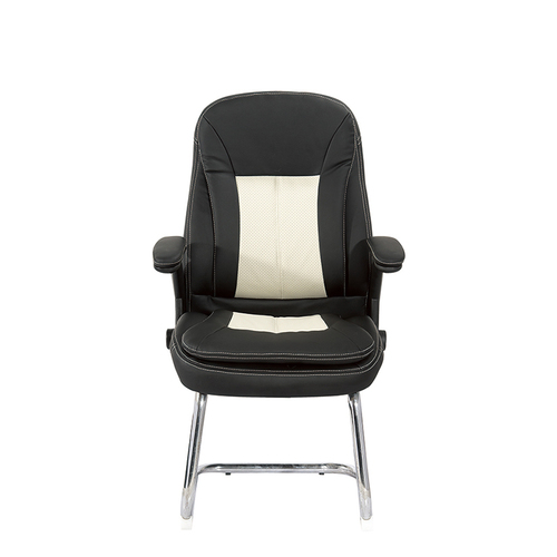Mif Black Leather Executive Side Reception Chair with Sled Base