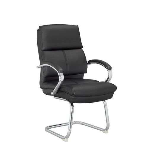 MIF Black Mesh Side Reception Chair with Leather Seat and Sled Base