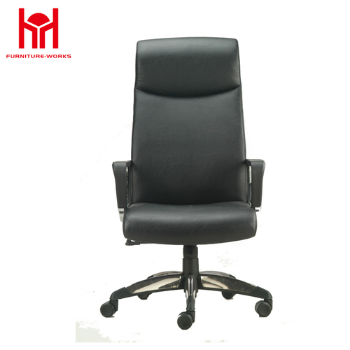 MIF Swivel High Back Office Chair with Fixed Pillow, Black PU Leather
