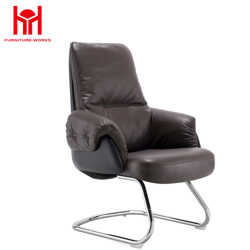 MIF Swivel High Back Office Chair, Yellowish Brown PU Leather