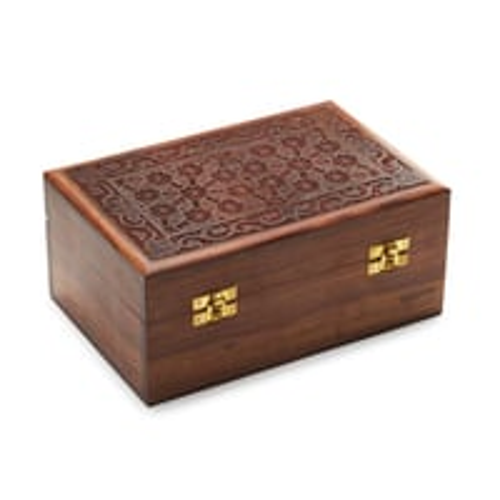 Hand carved storage box