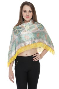 100% Satin Digital print With Lace fringes Ruhana Top / Coverup Top / Poncho