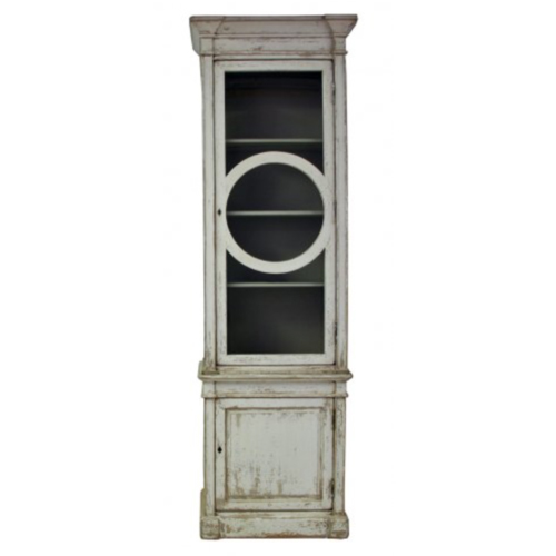 WOODEN ONE DOOR HUTCH WHITE DISTRESSED