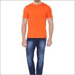 Orange Plain Round Neck T-Shirt