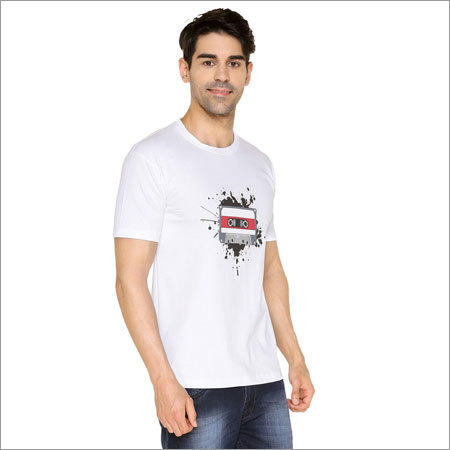 White Cassette Round Neck T-shirt