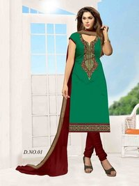 COTTON SATIN FABRIC SALWAR KAMEEZ WITH RESHAM BORDER