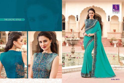 Koti Style Blouse Cotton Silk Saree