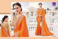Orange Colour Cotton Silk Saree