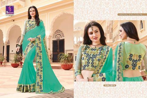 Green Colour Border Work Cotton Silk